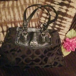 Coach Bags - Coach signature handbag/tote black/purple interior